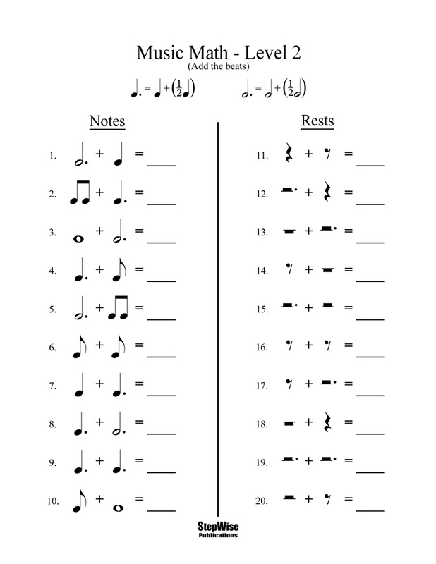 Free Band and Orchestra Worksheets Rhythm Notes Note Names and – Maths Level 2 Worksheets